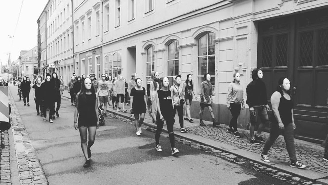 Steiger Missions School students performing a flash mob in Dresden, Germany, in 2016