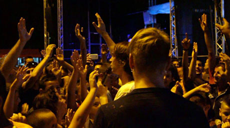 Aaron and the crowd in Albania